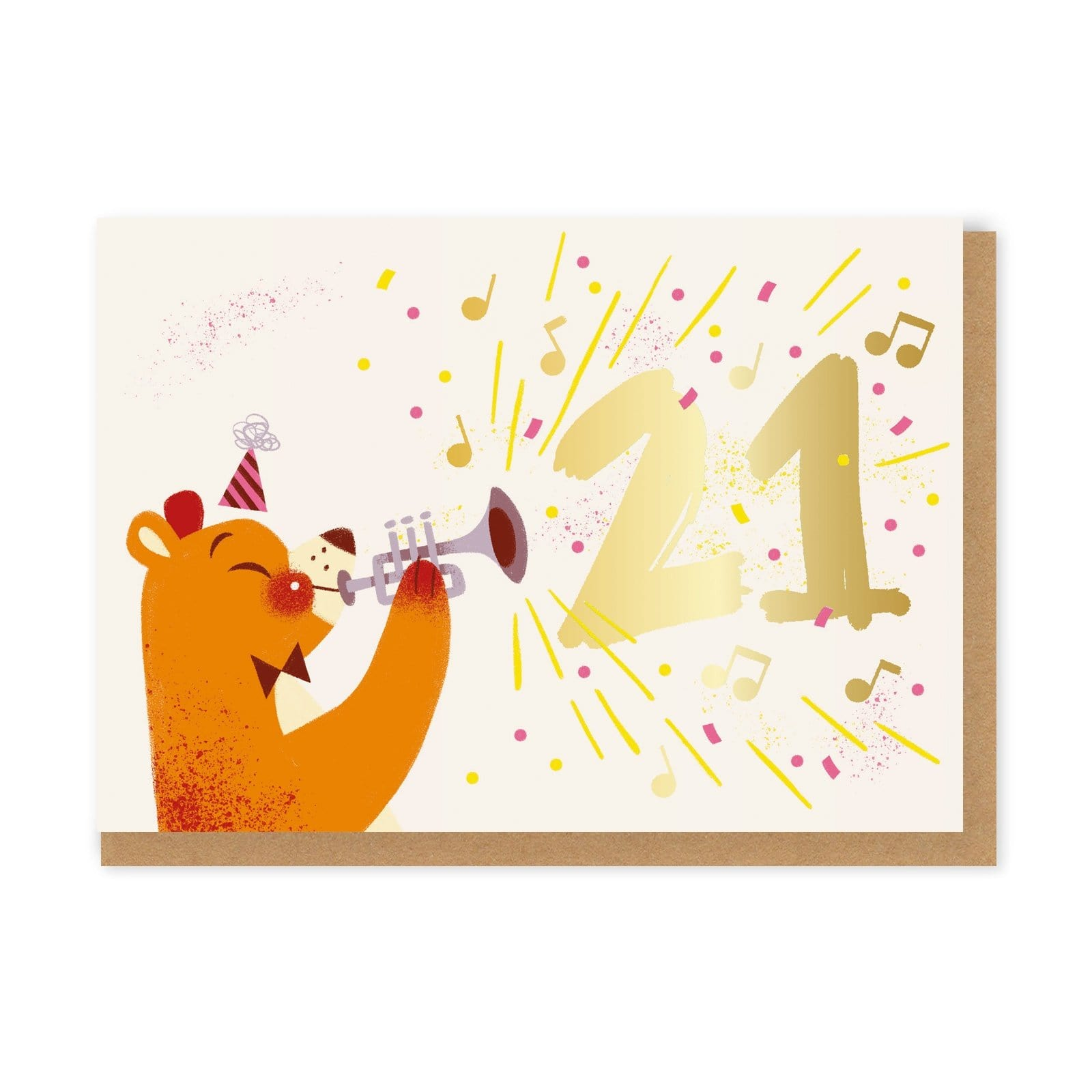 Landscape birthday card with 21 gold foil text and illustrated bear playing trumpet
