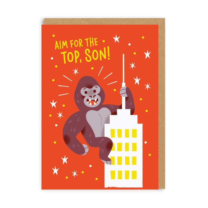 Orange greetings card with illustration of Gorilla on top of building, with wording 'Aim for the top, Son'