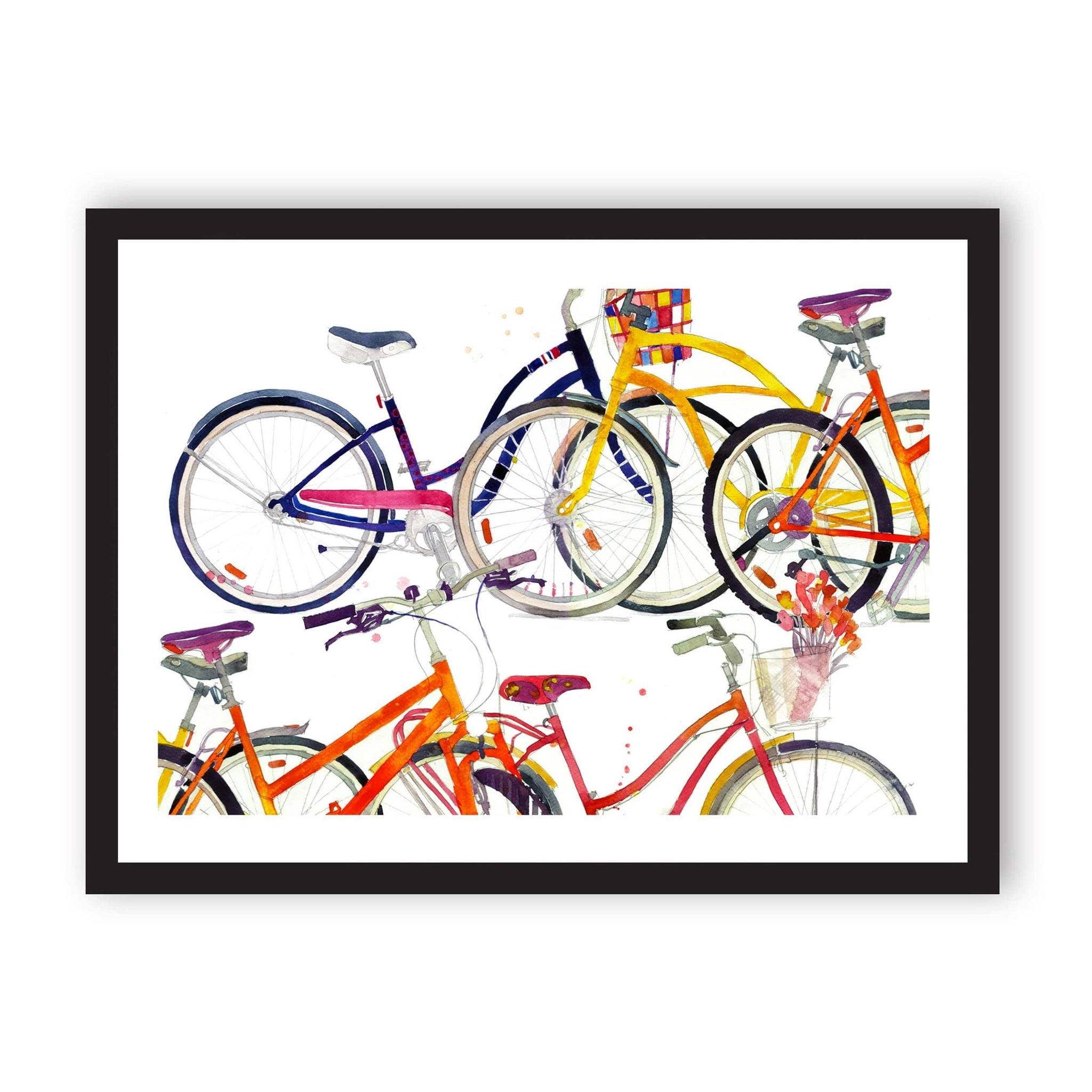 White print with colourful bicycles illustrated and in black frame