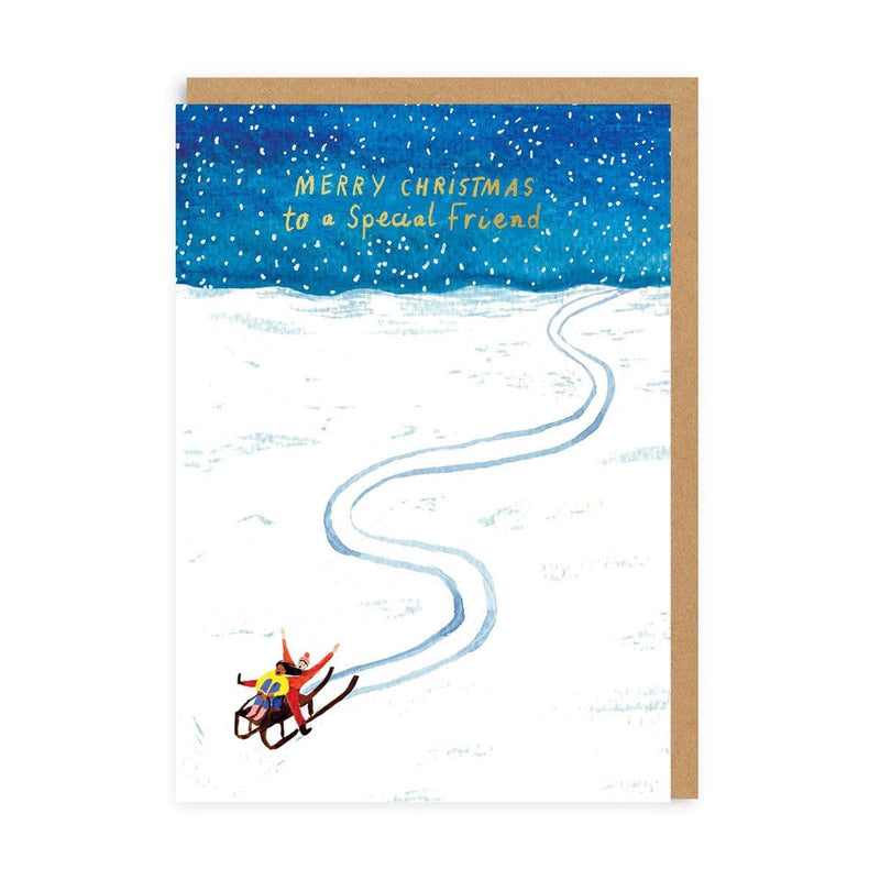 Special Friend Sledging Christmas Card