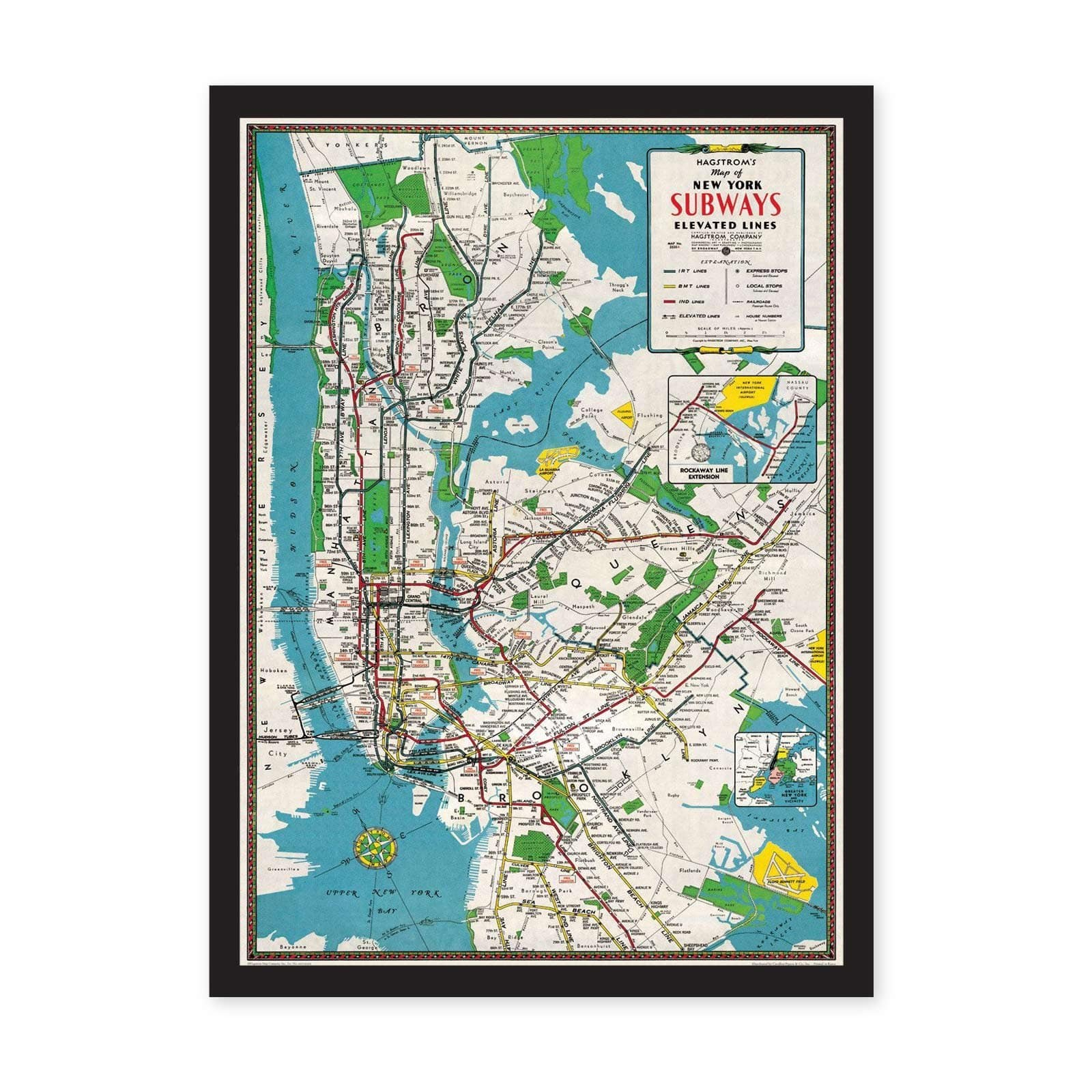 NYC Subways Map Art Print