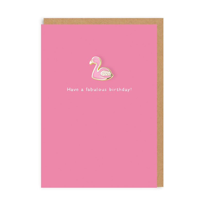 Flamingo Enamel Pin Greeting Card