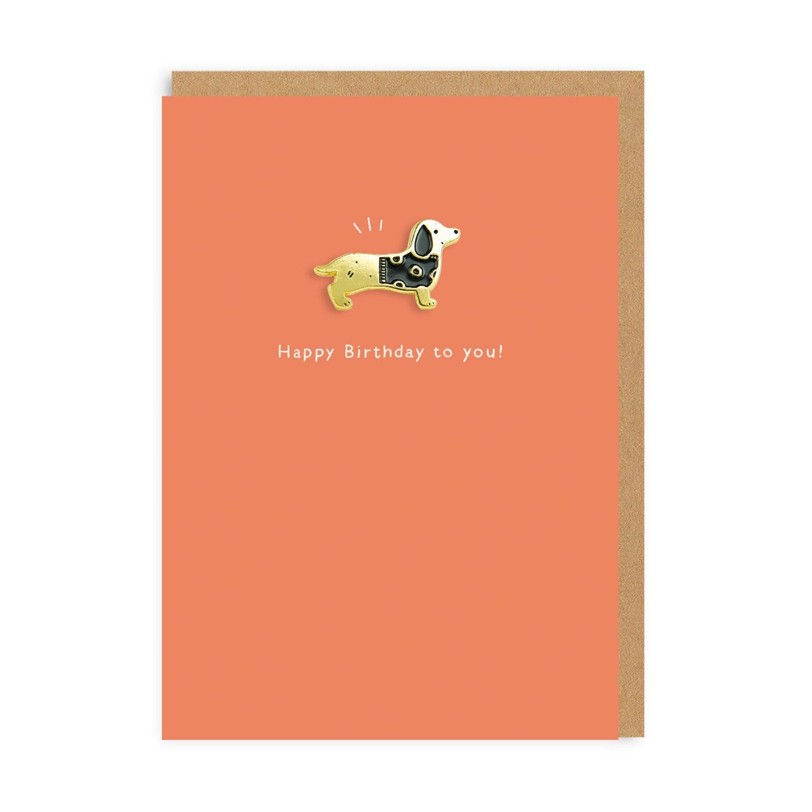 Sausage Dog Enamel Pin Greeting Card