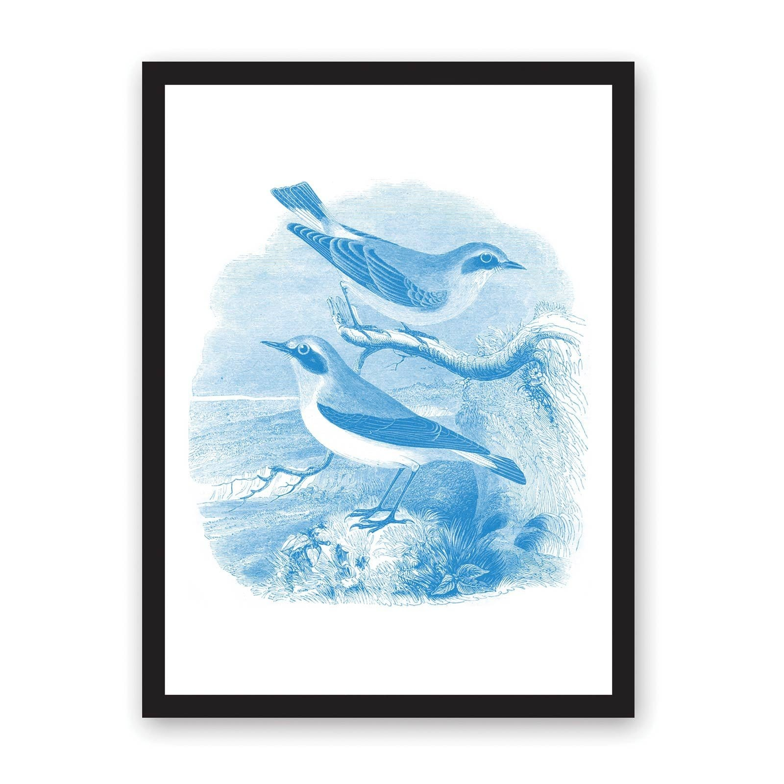 White art print with two blue drawn sea birds sat on tree branch