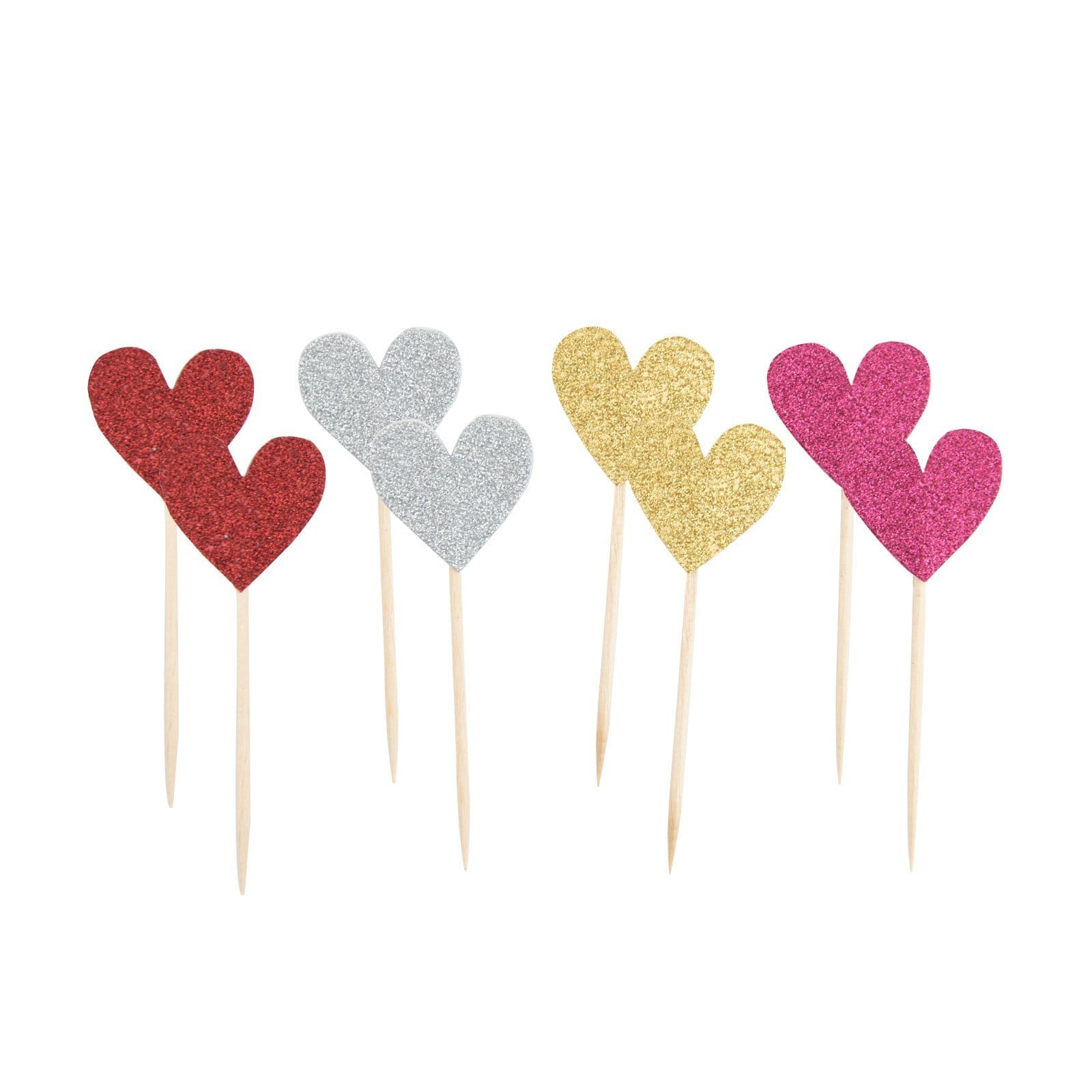 8 colourful glittery heart shaped cards on top of wooden sticks for party