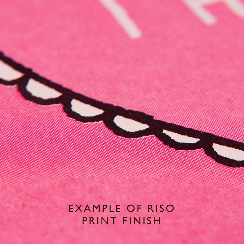 Bright pink riso print example close up of texture