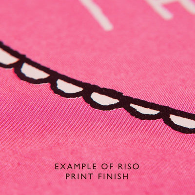 Pink riso printed card close up