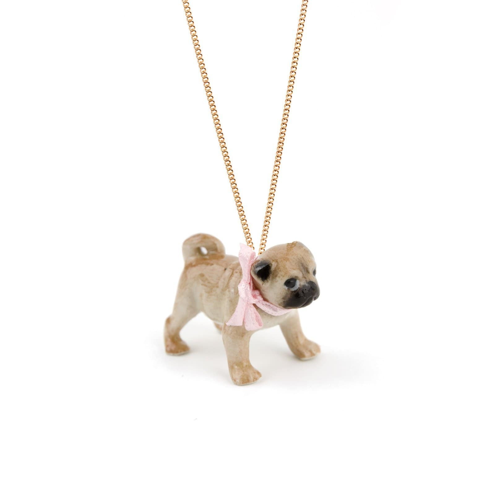 Pink Bow Pug Charm Necklace