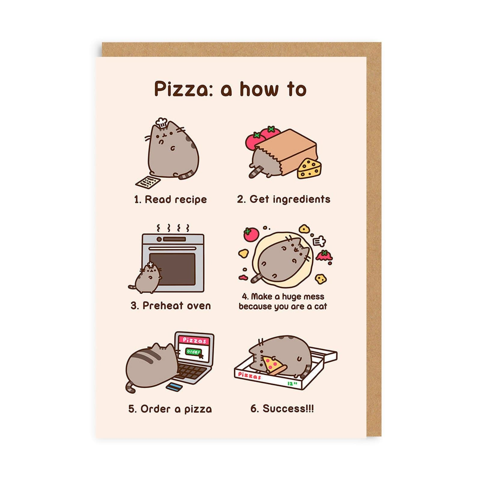 Pusheen Pizza Greeting Card