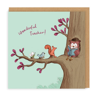 Teacher Owl Square Greeting Card
