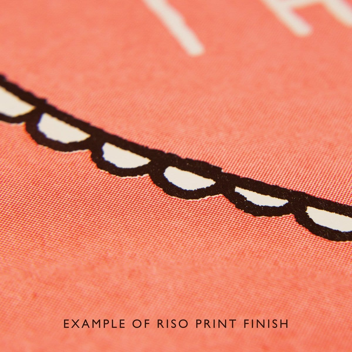 Peach paper close up of riso print texture, with black and white semi circle detailing