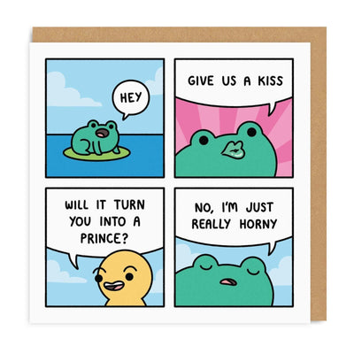 Horny Frog Square Greeting Card