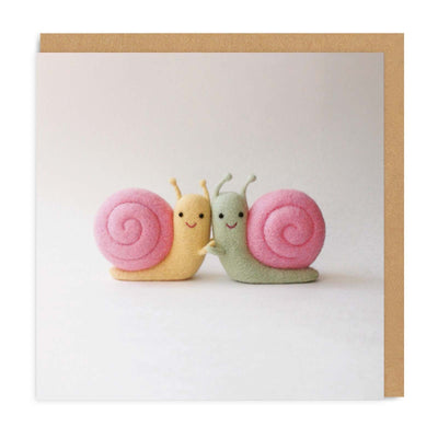 Snail Friends Square Greeting Card