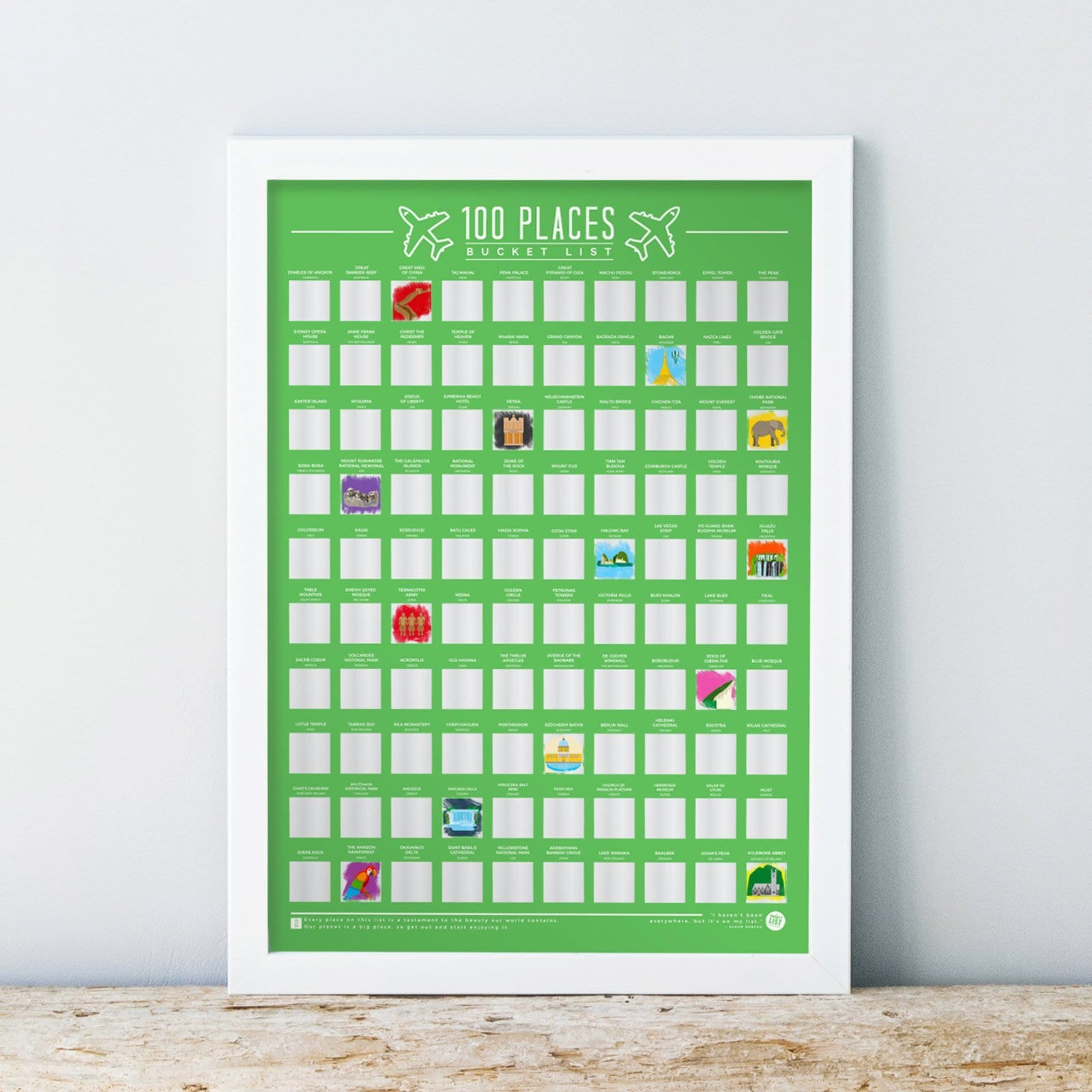 100 Places Scratch Off Bucket List Poster