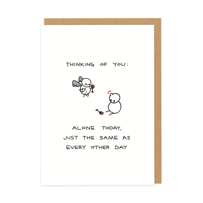White Valentines greeting card with two stick people and black type