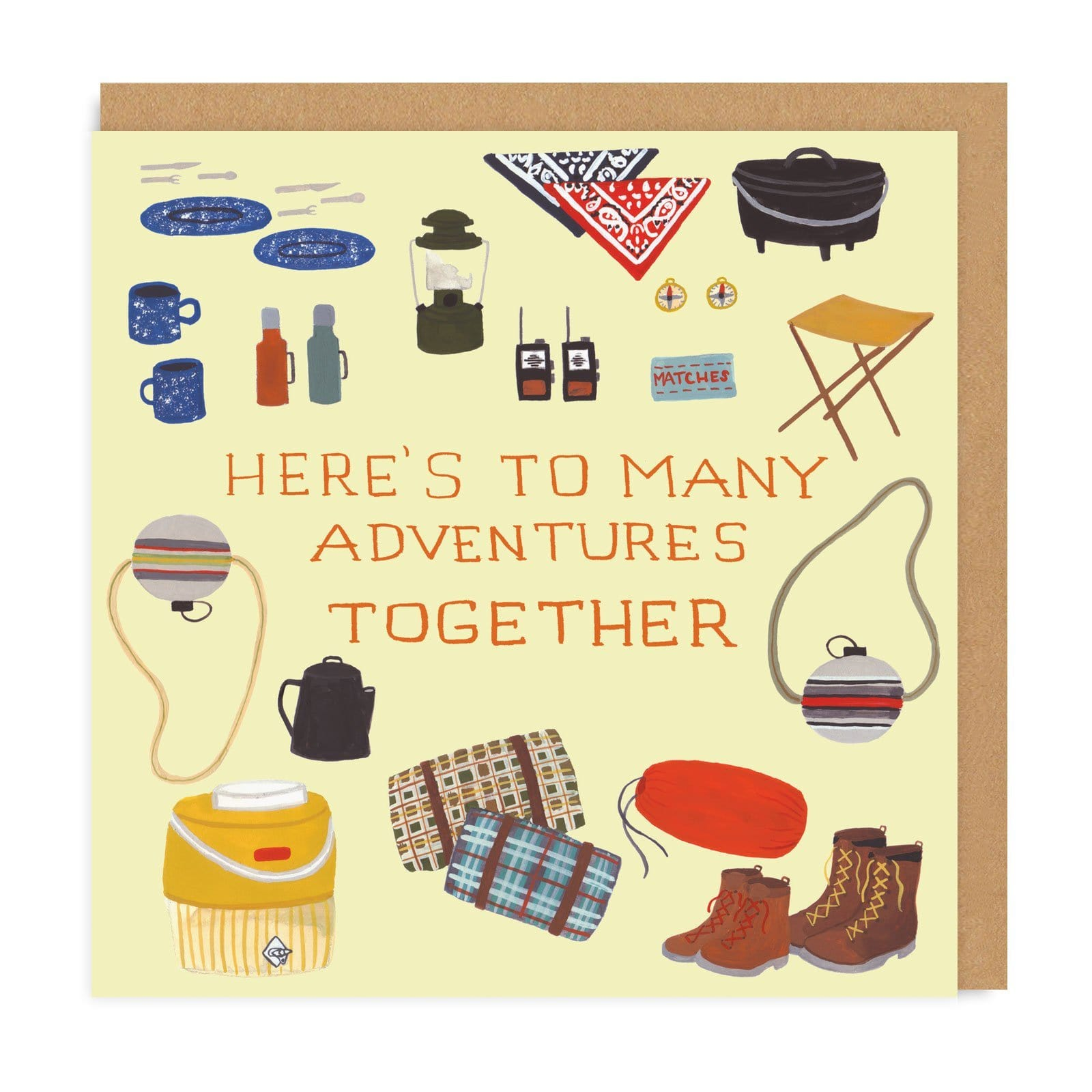 Brown square greetings card with illustrated camping gear including blankets, walking boots and thermal cups, with orange adventure text