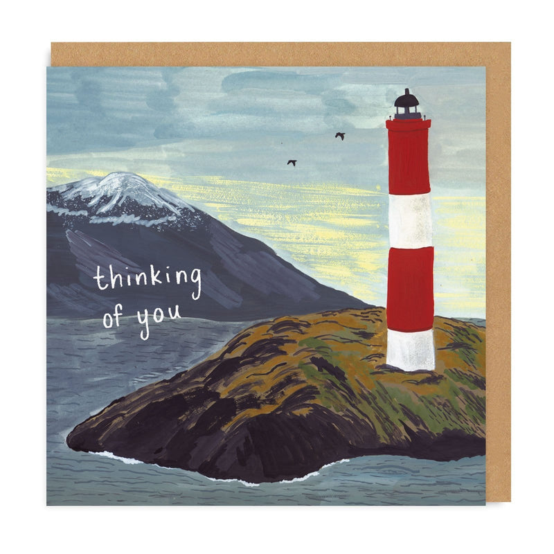 Lighthouse Thinking of You Square Greeting Card