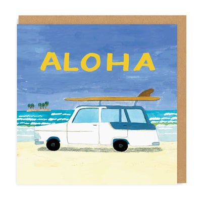 Surf Car Aloha Square Greeting Card