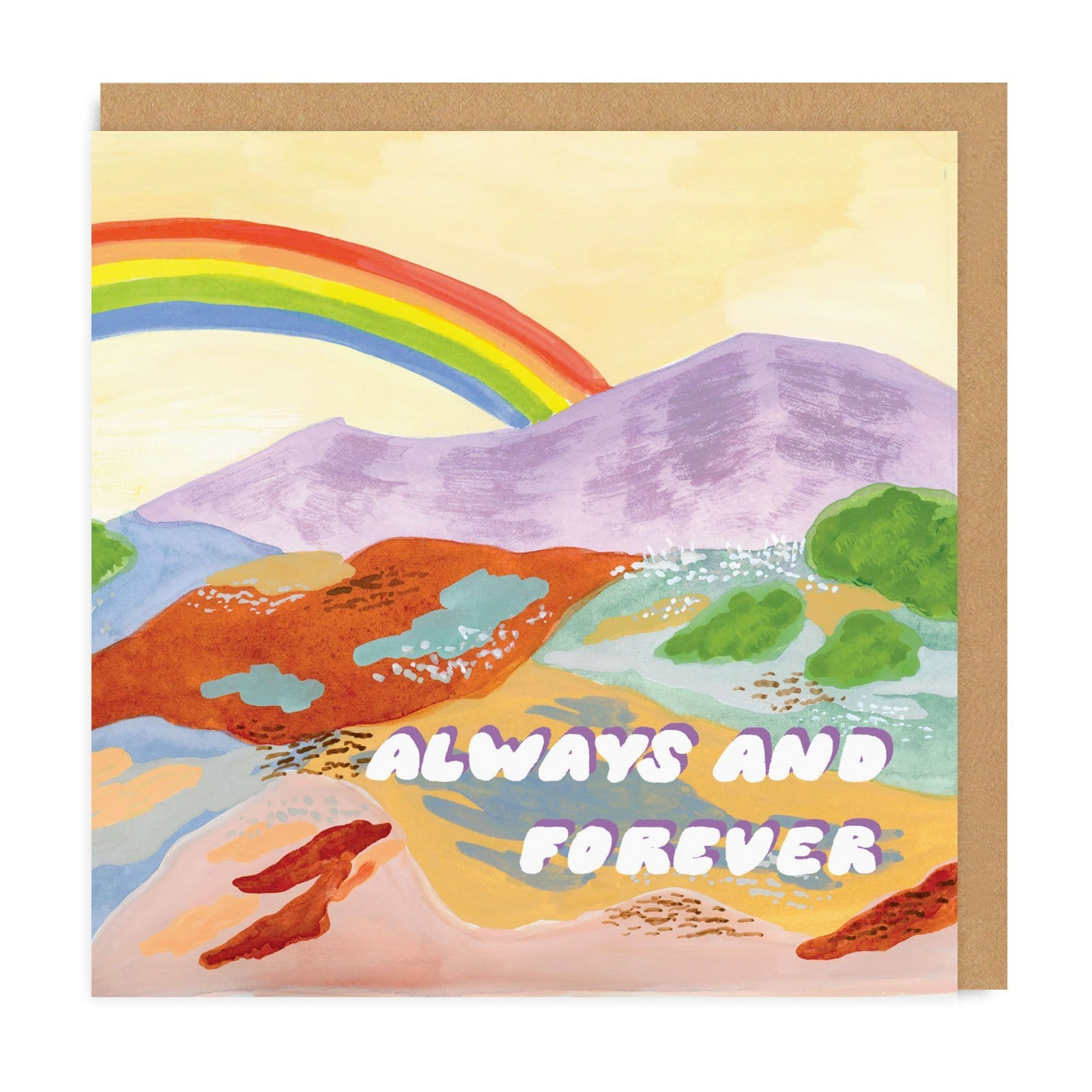Square colourful card with mountains and rainbow painted on, with Always and Forever text in retro font