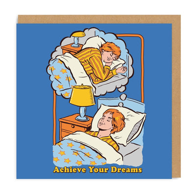 Blue greetings card with illustration of person in bed dreaming of being in bed sleeping