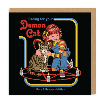 Caring For Your Demon Cat Square Greeting Card