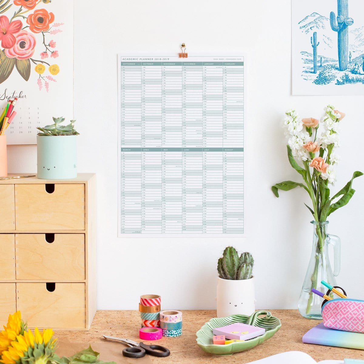 Teal Academic Wall Planner