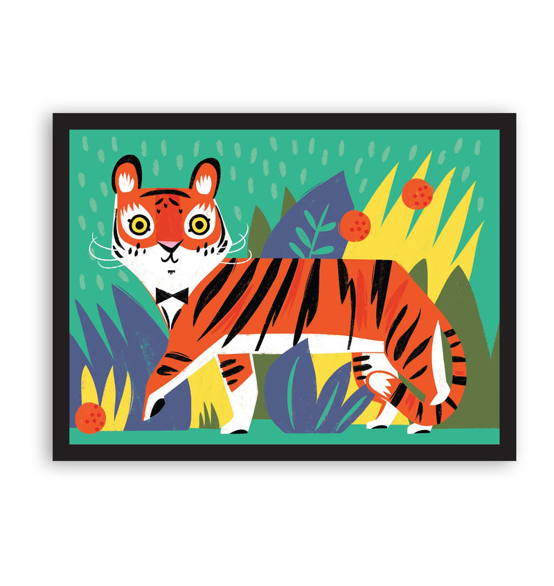 Tiger illustrated print in black frame with bright colours