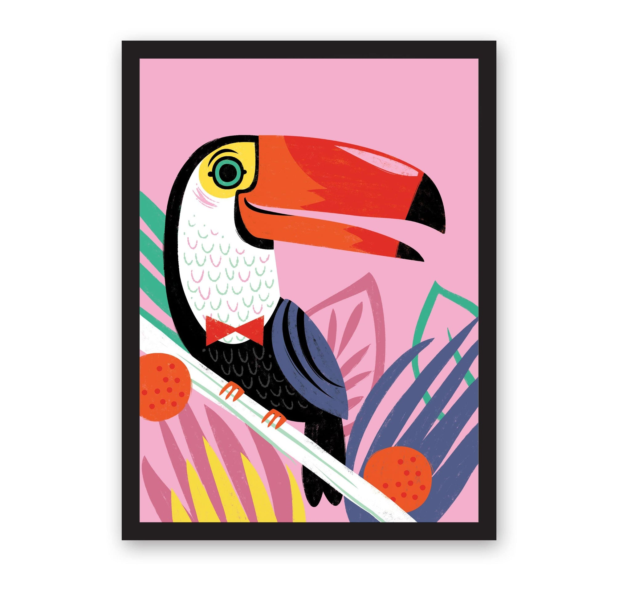 Toucan illustrated print with bright colours and pink background. In black frame