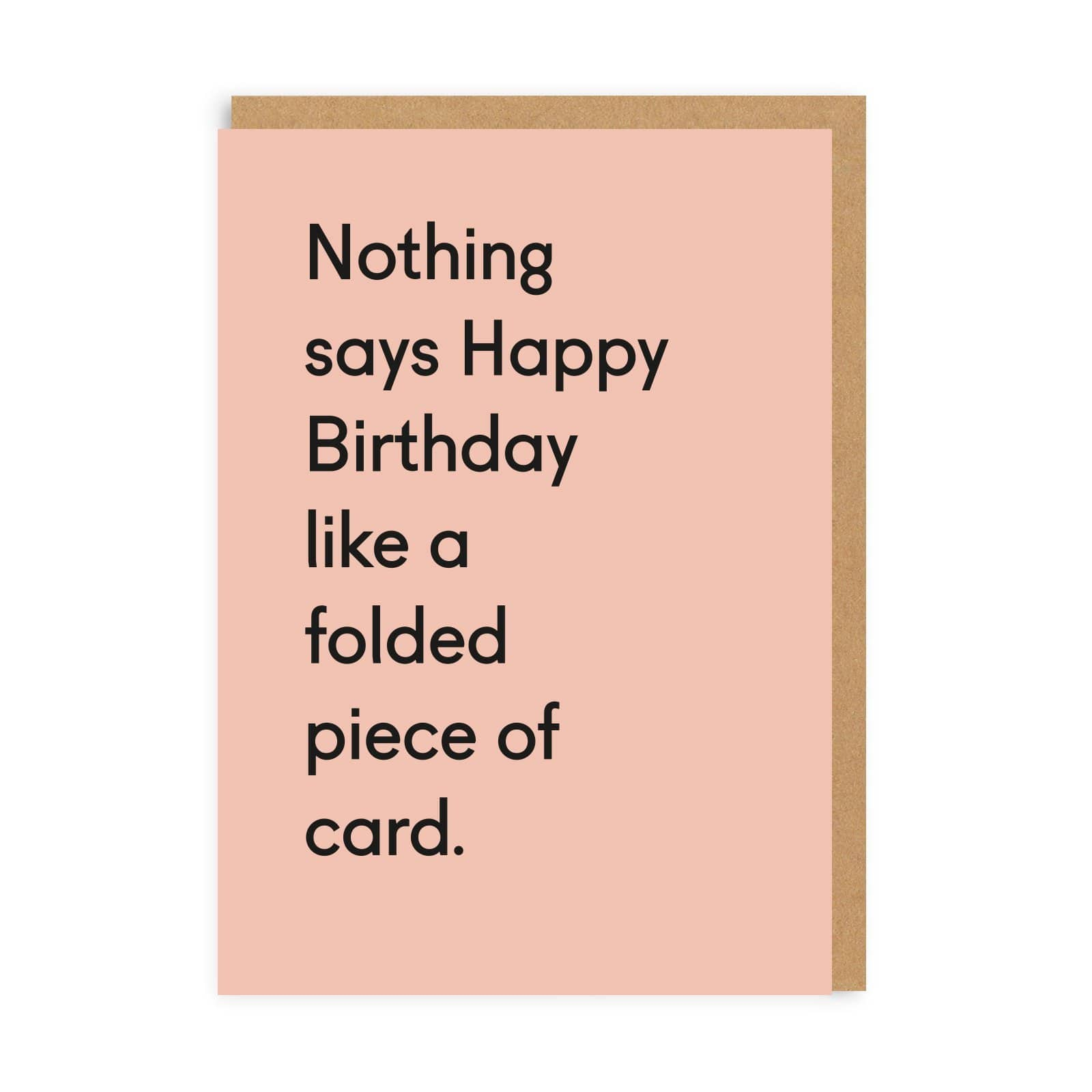 Folded Piece Of Card Birthday Greeting Card