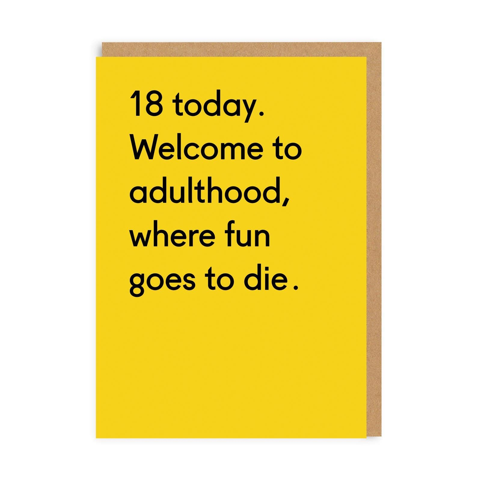 Yellow 18th birthday card with black text and brown envelope