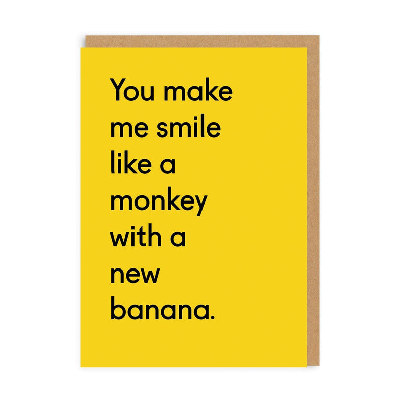 Monkey With a New Banana Greeting Card