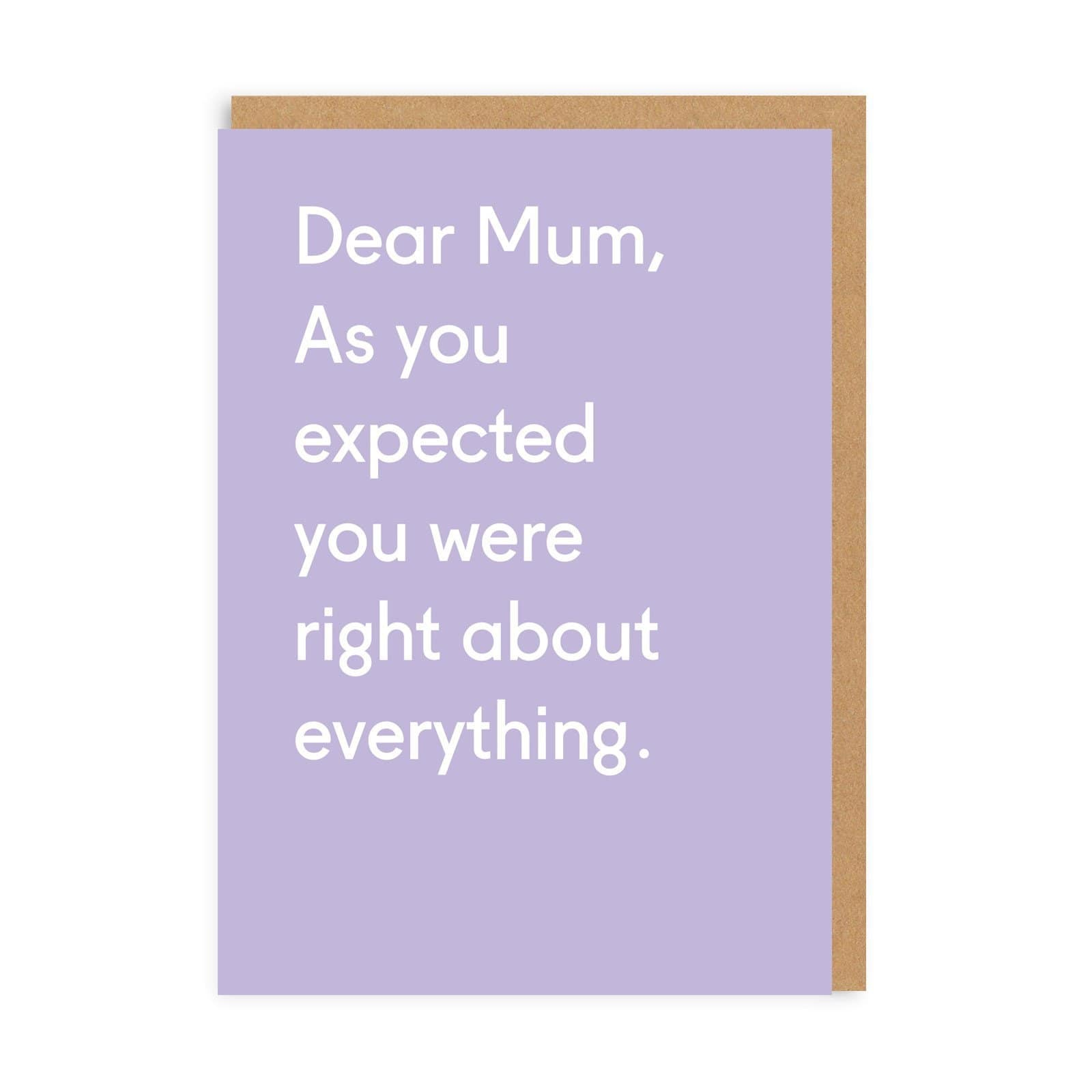 Dear Mum Greeting Card