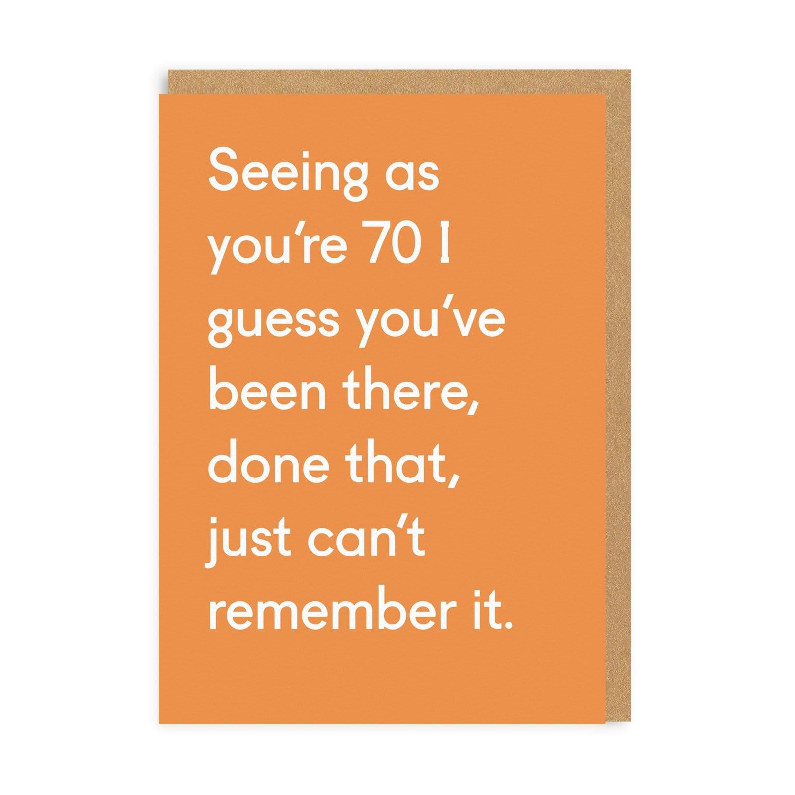 Orange greeting card with white text writing for 70th Birthday