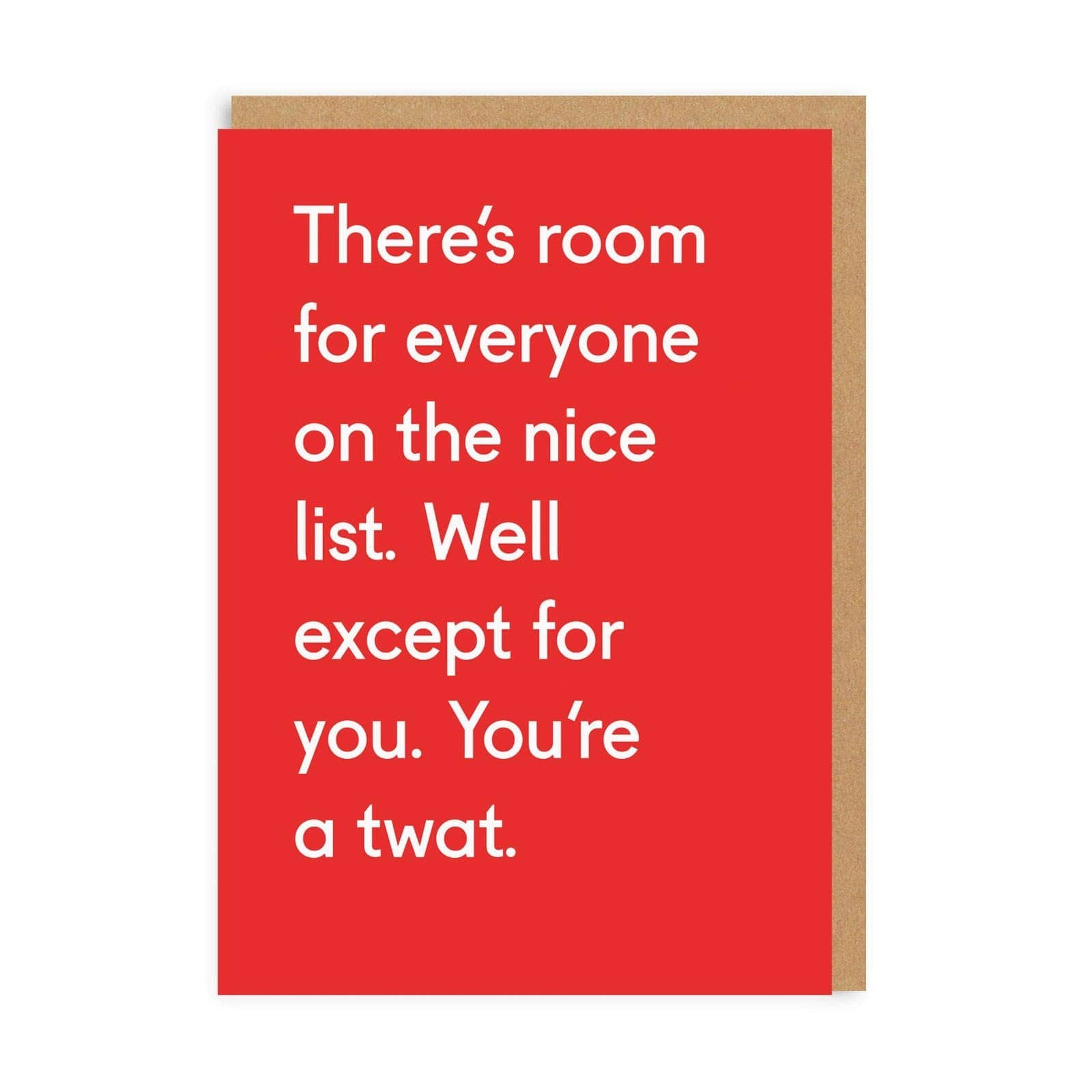 You're A Twat Christmas Greeting Card
