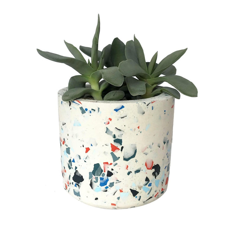 Cylinder Terrazzo White-Blue Plant Pot