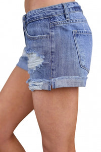 Blue Ripped Vintage Denim Shorts