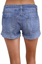 Load image into Gallery viewer, Blue Ripped Vintage Denim Shorts