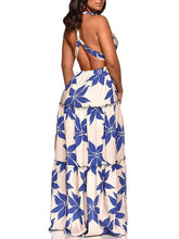 Load image into Gallery viewer, Elegant V Neck Sleeveless Pleated Bare Back Layered Maxi Dress