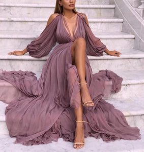 Fashion Ruffled Off-Shoulder Bell Sleeve Chiffon Maxi Dresses