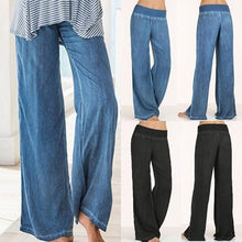 Load image into Gallery viewer, Casual Elastic Waist Denim Wide Leg Pants