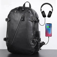 Load image into Gallery viewer, Fashion Backpack Handmade Leather Backpack with USB charge School Backpack Men Backpack - Unihandmade