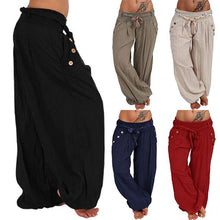 Load image into Gallery viewer, Plus Size Buttoned Pockets Stretchy Hammer Pants