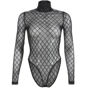 Transparent Fishnet Glitter Bodysuit - Black