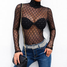 Load image into Gallery viewer, Transparent Fishnet Glitter Bodysuit - Black