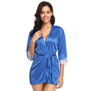 Silky Home Pajamas With Waist Belt