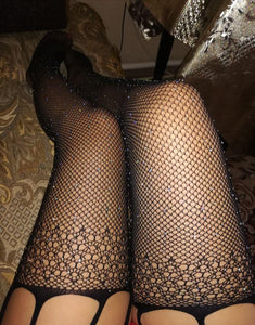 Star Dust Fishnet Stockings - Black Cut Out
