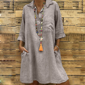 Winter women dresses girl Solid Dress Boho Turn-down Collar Casual Pocket female Button Dress Solid Casual
