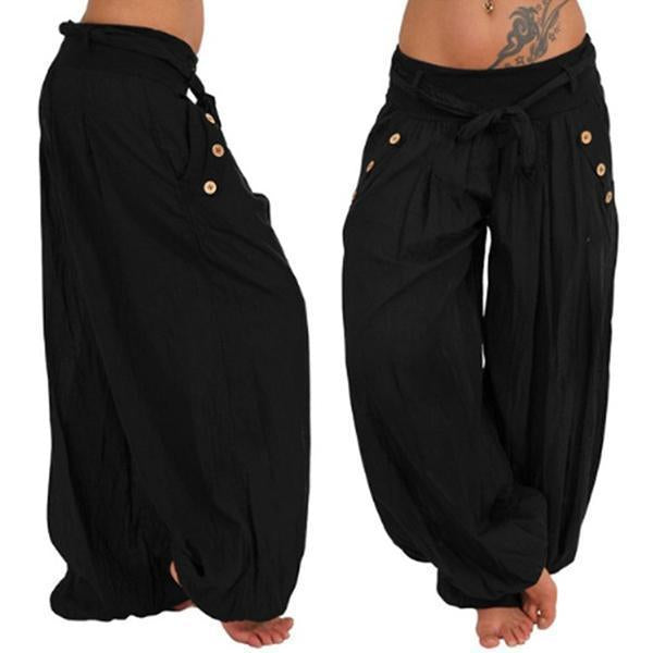 Plus Size Buttoned Pockets Stretchy Hammer Pants