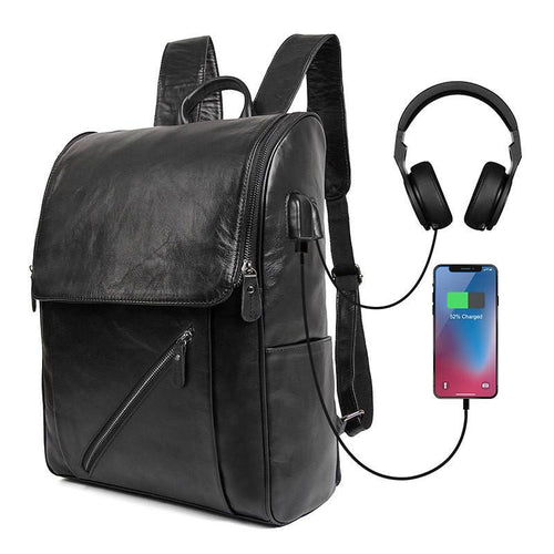 Backpack Handmade Leather Backpack with USB charge School Backpack Men Backpack 7344 - Unihandmade