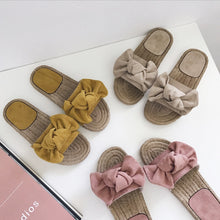 Load image into Gallery viewer, 2019 Women Linen Bowknot Slipper